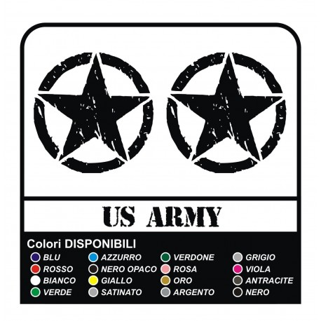 3 STICKERS cm 20 STAR + US ARMY x SUZUKI, JEEP, JEEP RENEGADE STICKERS