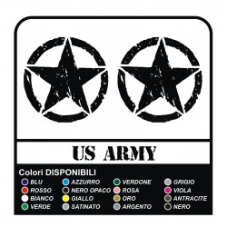 3 STICKERS cm 20 STAR + US ARMY x SUZUKI, JEEP, JEEP RENEGADE antique effect