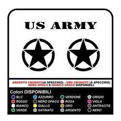 2 ADESIVI cm 25 STELLA + SCRITTA US ARMY OMAGGIO PER FUORISTRADA STICKERS DECALS