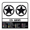 3 STICKERS for JEEP RENEGADE cm 10 STAR + US ARMY for off-road STICKERS