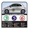 adesivi 500 NUMERI adesivi stickers numeri portiera laterali NEW