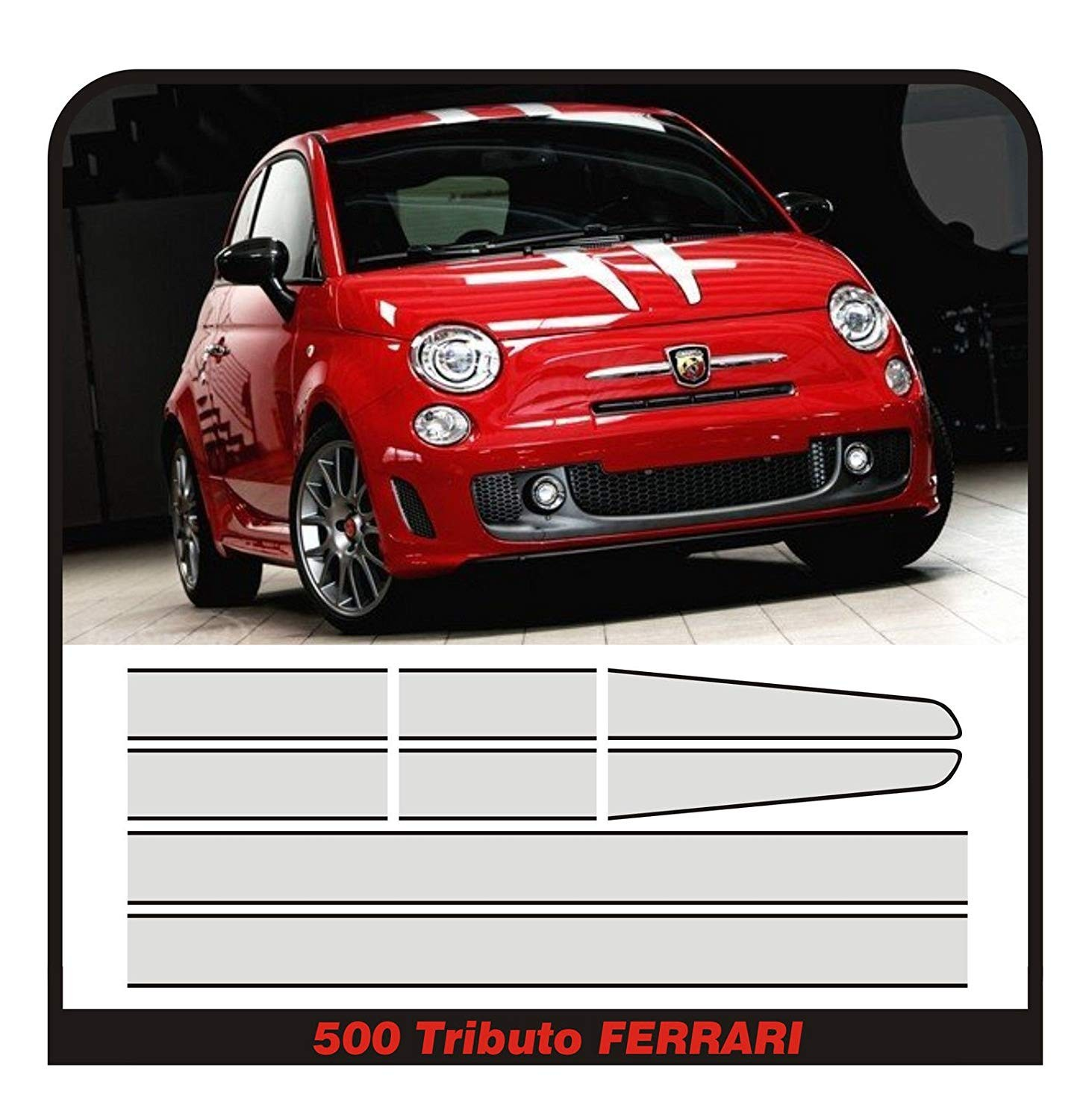 Adhesives Adhesive Strips For Fiat 500 Abarth Tributo Ferrari Stripes 695 Stickers Hood Roof And Trunk