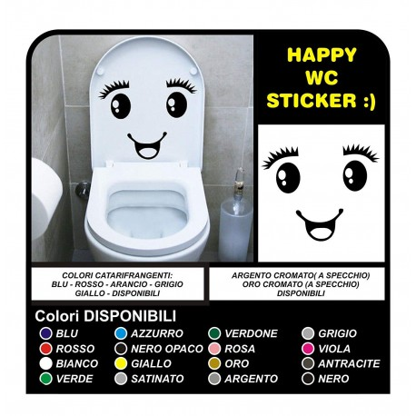 adhesive toilet cute smiley face sticker for bathroom toilet with cute smile and fun