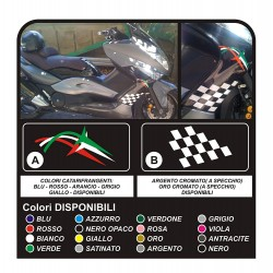 Autocollants pour YAMAHA T MAX 500 pour les flèches latérales tricolore damier