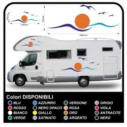 pegatinas caravana CARAVANA CARAVANA gráficos de vinilo SOL, las GAVIOTAS, el MAR y el CIELO kit completo de alta CALIDAD -