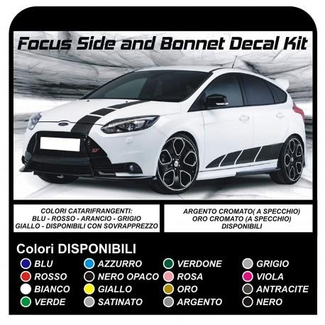 Aufkleber Für Ford Focus St Mk3 Komplettes Kit Aufkleber Seitenstreifen Und Motorhaube Neue Focus Turbo Rs 16 18 20