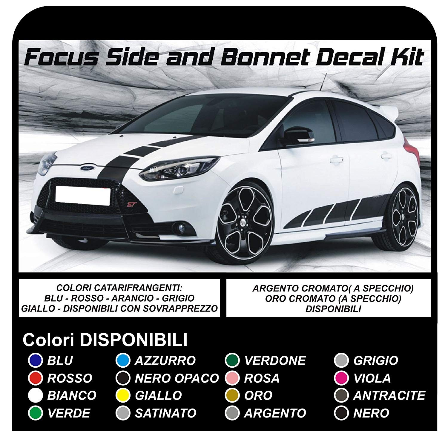 Stickers For Ford Focus St Mk3 Complete Kit Adhesive Stripes To The Side And The Hood The New Focus Turbo Rs 1 6 1 8 2 0