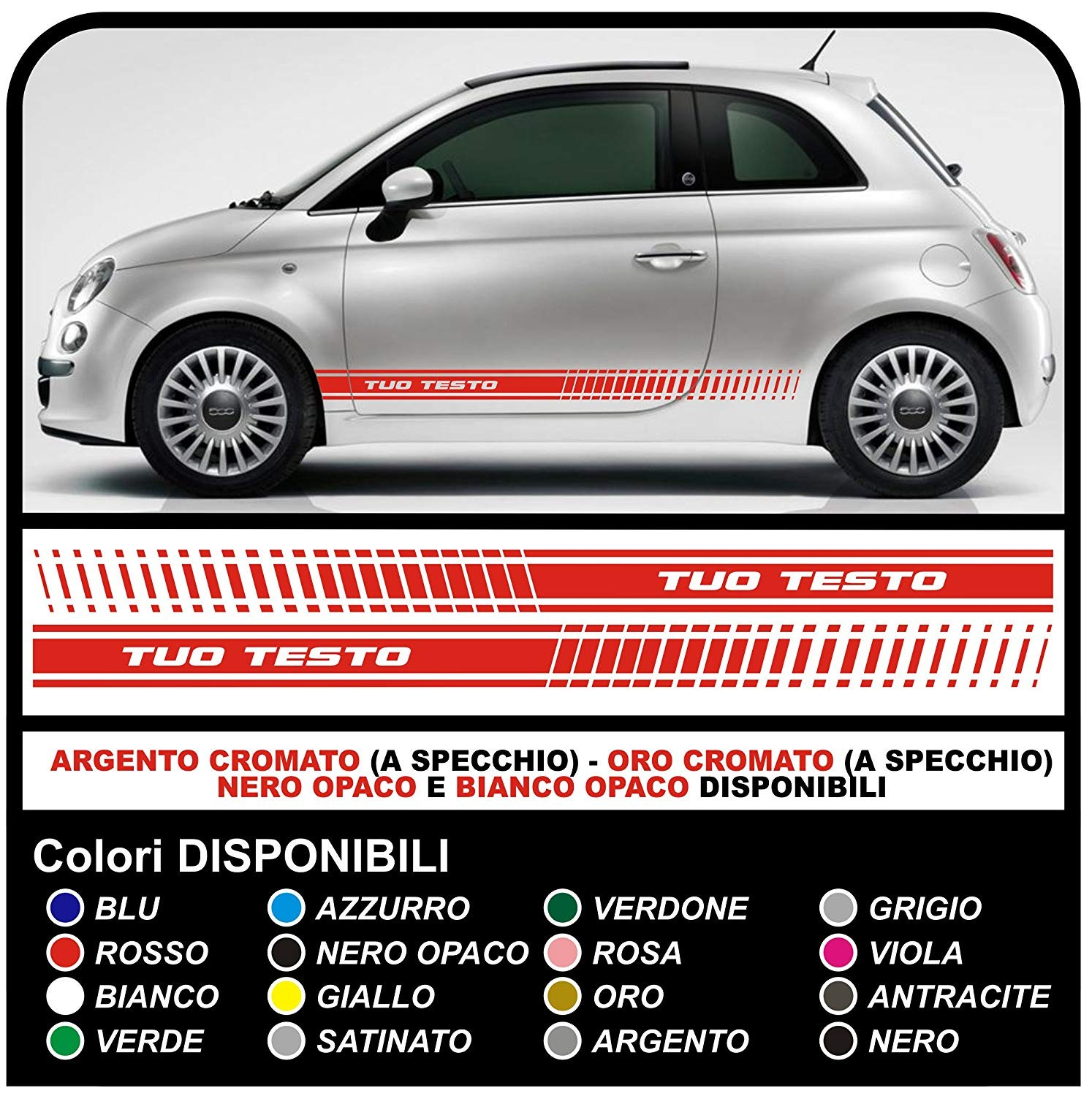 Stickers Abarth Side Side Panels For The Fiat 500 Abarth