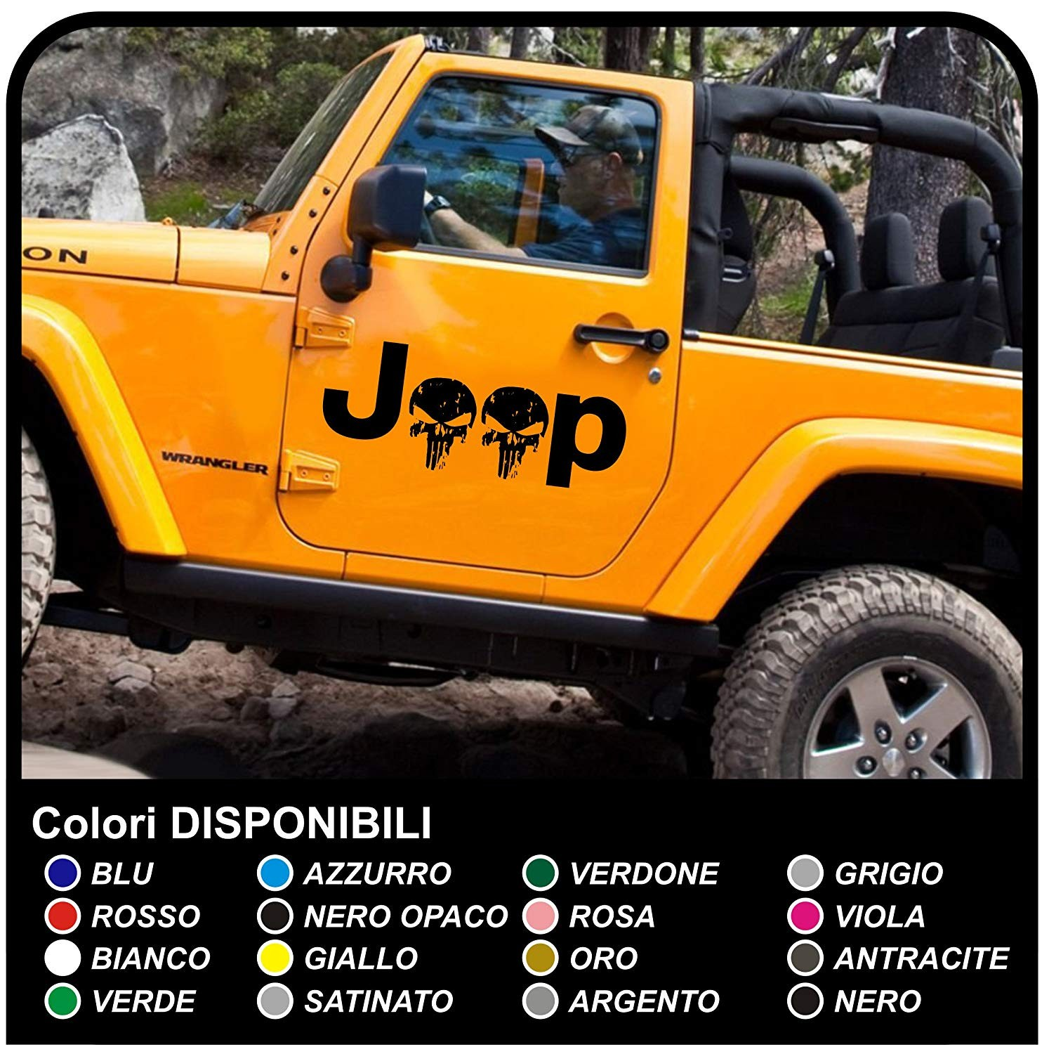 Adhesive side jeep star military consumed skull willys us army car stickers rally stickers door skull jpg
