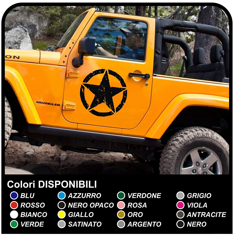 Adesivi Laterali Stella Militare Consumata Per Jeep Wrangler