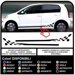 Checkered flag side stripes for volkswagen UP Decoration full Set of Stickers for 3 and 5 door