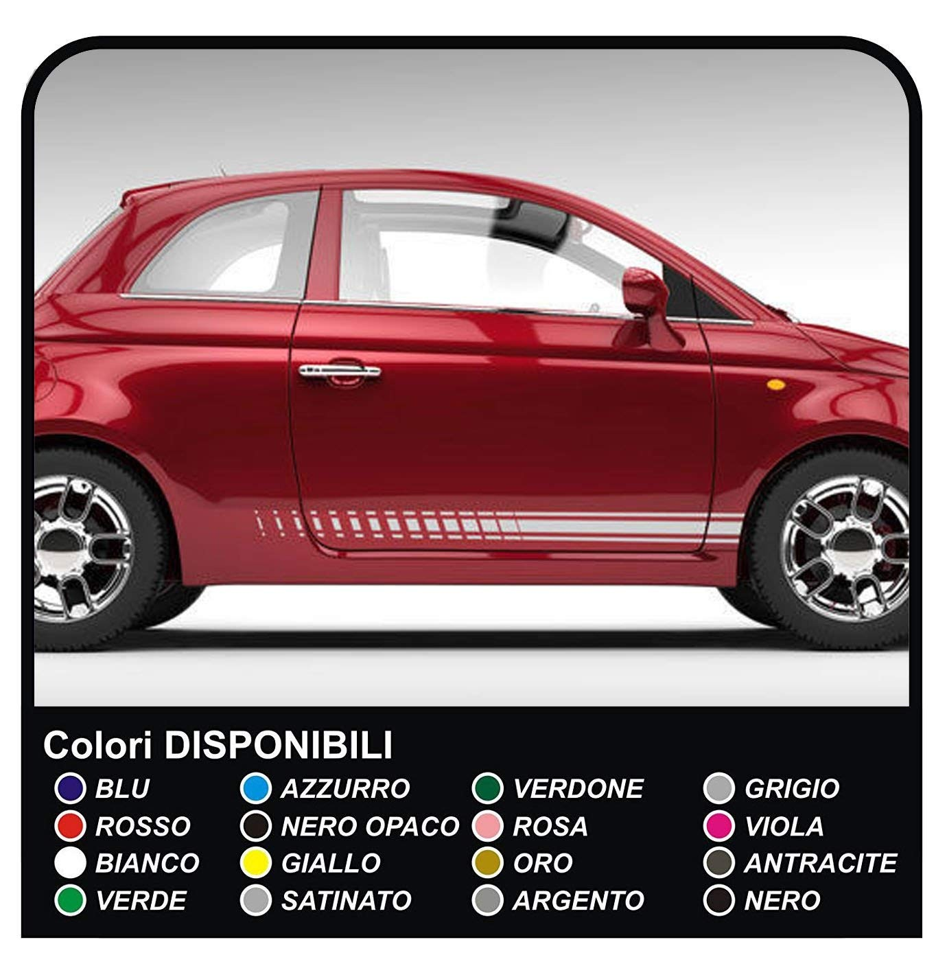Stickers Side For Fiat 500 Adhesive Strips Sides Fiat 500 Stickers Decals